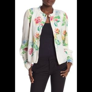 Floral textured chiffon bomber jacket